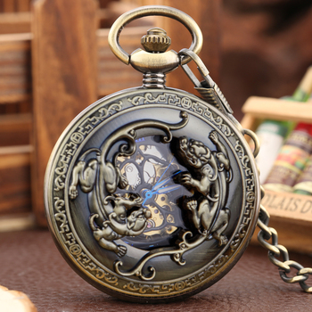 Retro Silver/Bronze/Black Mechanical Pocket Watch Hand Winding Unique Double Brave Troops Hollow Steampunk Fob Chain Flip Clock golden black sliver antique hollow automatic mechanical pocket watch fob chain hand winding full steel sculpture for men wome