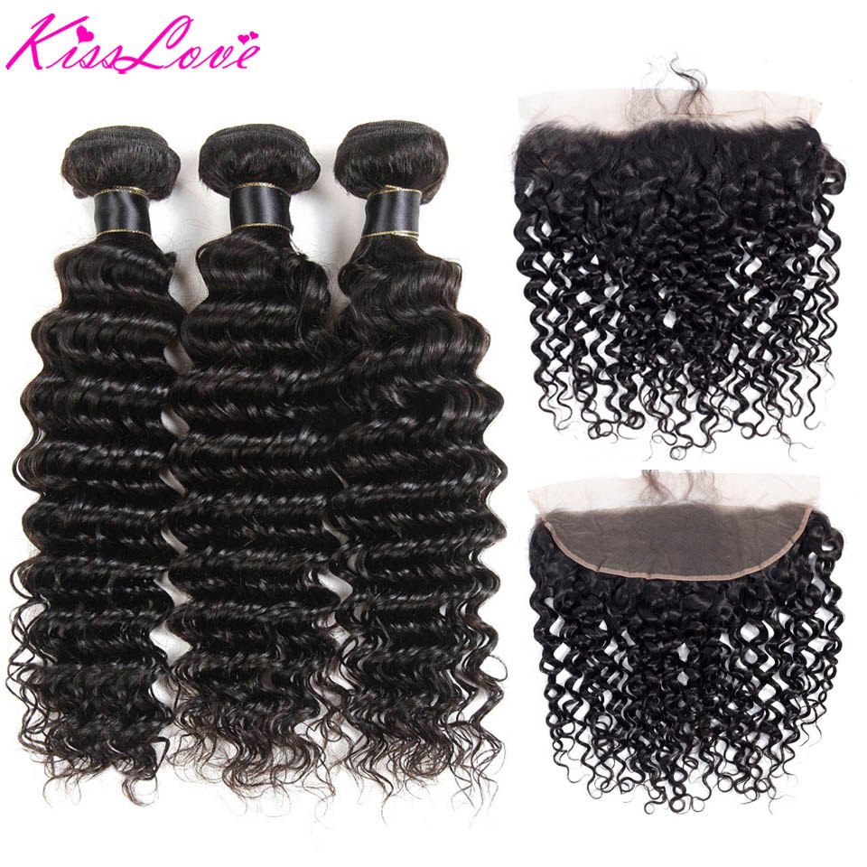 Kiss Love Brazilian Hair Deep Wave Bundles With Frontal 100% Human Hair Weave Frontal With Bundles Remy Hair