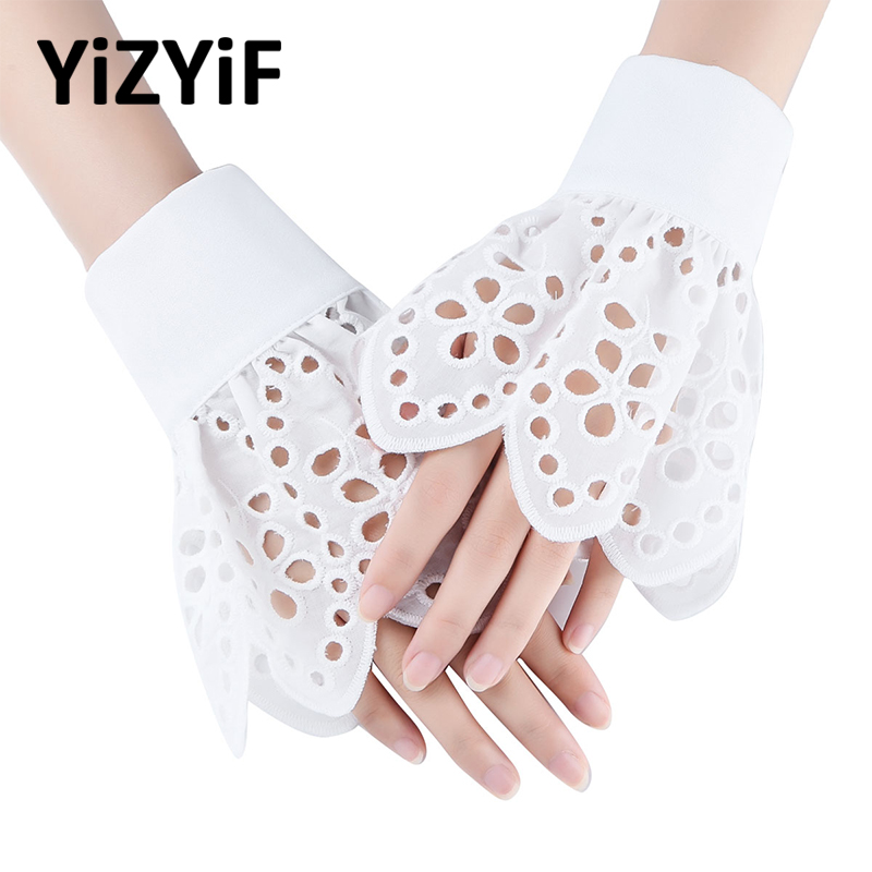 Women Girls False Sleeves Wrist Cuffs Bracelets Ruffled Peplum Bell False Sleeve Hollow Out Cuffs Bracelets Costume Accessories