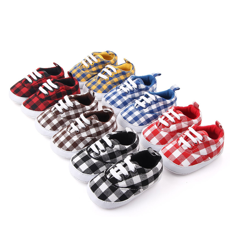 0-18M Newborn Baby Shoes Fashion Plaid Cotton Soft Sole Baby Girl Shoes Toddler Infant Shoes Baby Casual Crib Shoes For Boy F98