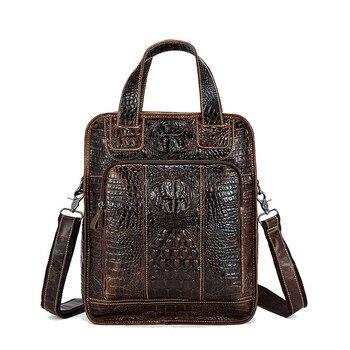 100% Genuine Leather Alligator Men Bag New Designer Male Shoulder Crossbody bag laptop tote men briefcases Leather messenger Bag