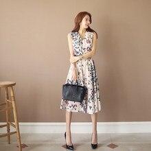 2019 Women Casual Sleeveless Floral Print Bohemian Dress Elegant Loose A-line Dress Party Belt V-neck Midi Dress
