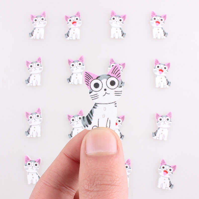 Cute Animals Cat Diy Handmade Buttons for Clothing Christmas Scrapbooking Noel Accessories Sewing Coats Button Scrabook 100Pcs E