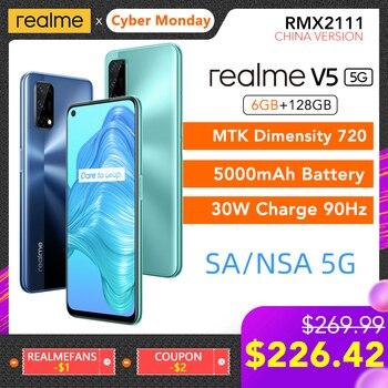 Перейти на Алиэкспресс и купить Realme V5 5G NR SA/NSA 6 ГБ ОЗУ 128 Гб ПЗУ Helio 720 90 Гц Дисплей 30 Вт флеш-зарядка 5000 мАч Поддержка многоязычного Play Store