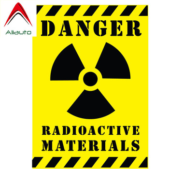 цена на Aliauto DANGER RADIOACTIVE MATERIALS Car Sticker Warning Mark Decal for Peugeot Fiat 500 Abarth 500x 5000L Panda, 10CM*14CM