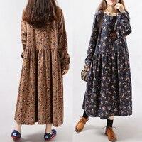 HAYBLST Brand Long Dress Women 2019 Autumn Winter Clothing Plus Size 2XL Korean Fashion Print Loose Long Sleeve Dresses Add Wool