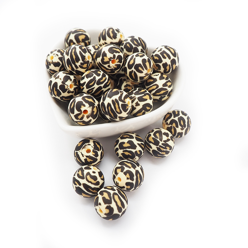 Chenkai 10PCS 15MM Silicone Leopard Print Beads Baby Round Shaped Beads Teething BPA Free DIY Sensory Chewing Toy Accessories