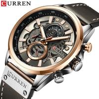 Nowe męskie zegarki marki CURREN kreatywna moda chronograf kwarcowy skórzany pasek do zegarka Lumious Hands wodoodporny zegar