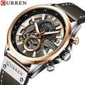 NEUE Männer Uhren Marke CURREN Kreative Mode Chronograph Quarz Armbanduhr Lederband Lumious Hände Wasserdichte Uhr