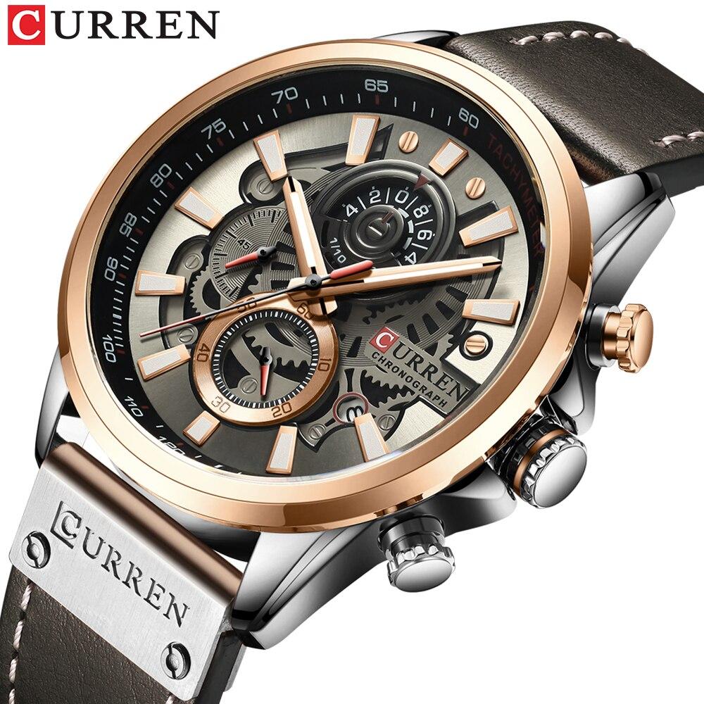 NEW Men Watches Brand CURREN Creative Fashion Chronograph Quartz Wristwatch Leather Strap Lumious Hands Waterproof Clock