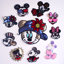 Pulaqi Cartoon MM Patch On Clothes DIY Embroidery Patches for Clothing Sequins Sew-on on Mouse Appliques Stripes F