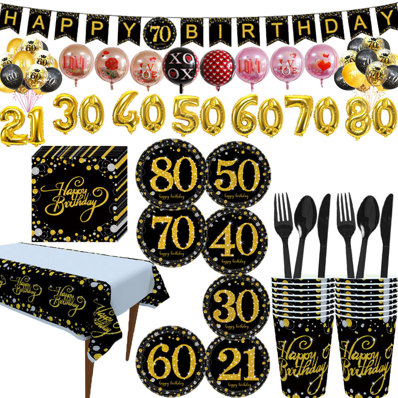 Black theme <font><b>birthday</b></font> <font><b>party</b></font> disposable tableware paper plate cup banner balloon baby shower 21/30/40/50/60/<font><b>70</b></font>/80 years old <font><b>party</b></font> image