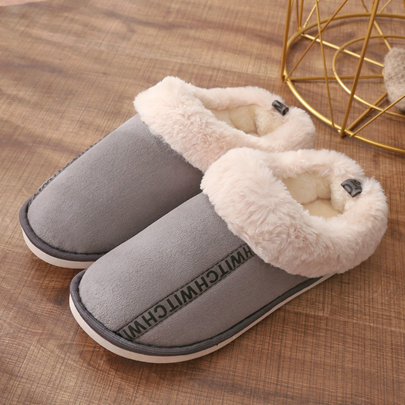 Dropshipping Men Winter Warm Indoor Slippers 2019 Adults Male Letter Printed Plush Flip Flops Home Shoes Cotton Home Slippers