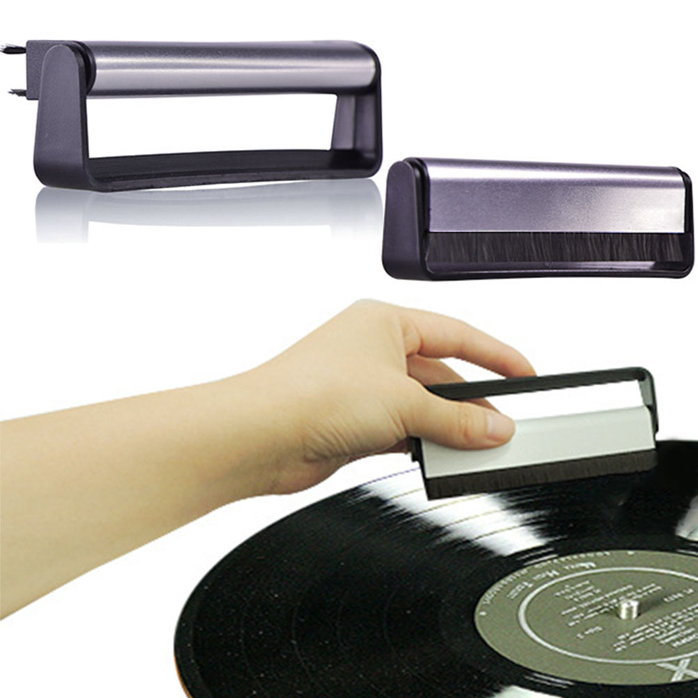 Scrubbing Vinyl Soft Phonograph Audio Cleaning Tool Cleaner Turntables Black Anti Static Pad Handle Carbon Fiber Record Brush