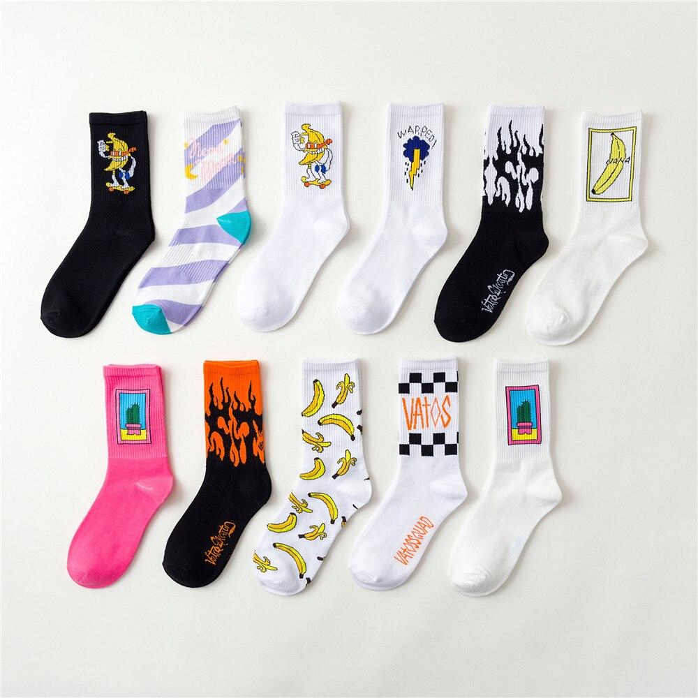 Casual Men's Cotton Socks Funny Male Harajuku Stripe Cactus Flame Banana Pattern Skateboard Socks Hip Hop High-Quality Breath