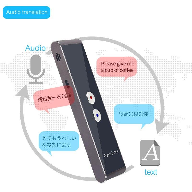Многофункциональный Умный переводчик серебро для изучения языка путешествия встречи портативный голосовой ТЕКСТ Аудио переводчик для бизнеса