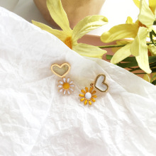 Asymmetrical Korean Jewelry Cute Flower Small Drop Earrings For Women 2019 New Fashion Sweet Heart