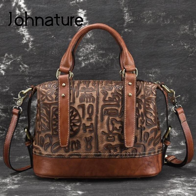 Johnature Handmade Embossing Genuine Leather Vintage Women Handbags 2020 New Leisure Cowhide Luxury Shoulder & Crossbody Bags