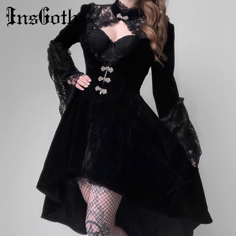 InsGoth Vintage Black Women Velet Dress Gothic Placed Elegant Hollow Out Dress Lace Patchwork Sexy Mini Female Party Dress
