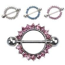 Moda círculo nipple ring strass cristal de aço inoxidável girassol pavimentado nipple anéis corpo piercing jóias fs99