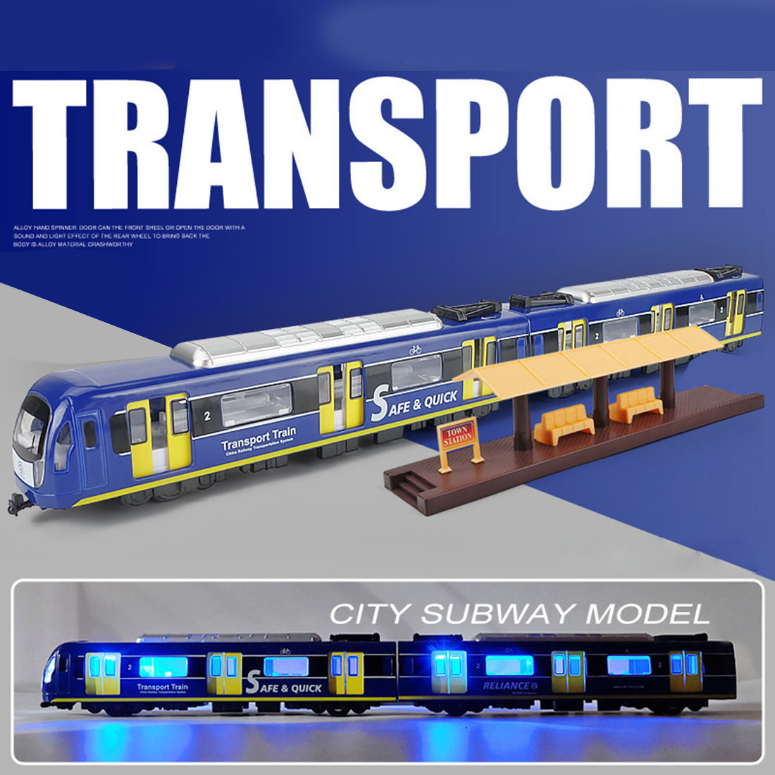 1:87 Simulation Pull Back Car Sand Table Commuting Alloy Train Model (Two Carriages) - Blue/Red