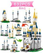 632 Pcs Castles Bouwstenen Compatibel Lepining Meisjes Vrienden Prinses Verlichting Baksteen Speelgoed