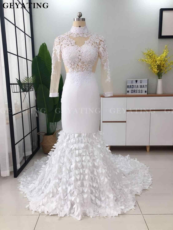 Elegant High Neck Long Sleeves Mermaid White Prom Dresses 2020 Illusion Lace Applique 3d Floral Black Girl Long Graduation Dress Aliexpress,Steven Khalil Mermaid Wedding Dress