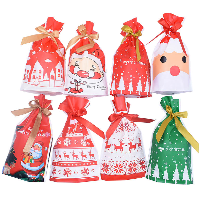 5Pcs/lot Christmas Plastic Bag Creative Cookie Candy Bags Birthday Favors Easter Birthday Party Snack Gift Bag Packaging Gift