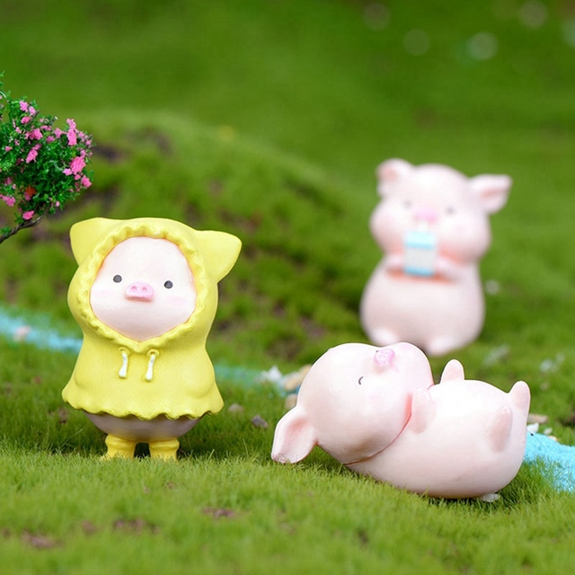 6Pcs/Set Pig Family figurine Animal Model Moss Micro Landscape Home Decor Miniature Fairy garden Decoration Baby Room Decoration 4