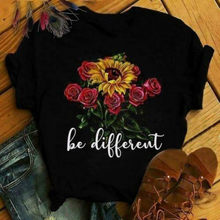 3 d graphics roses painted color lovely women T-shirt printing T-shirt women coat clothes T-shirt()