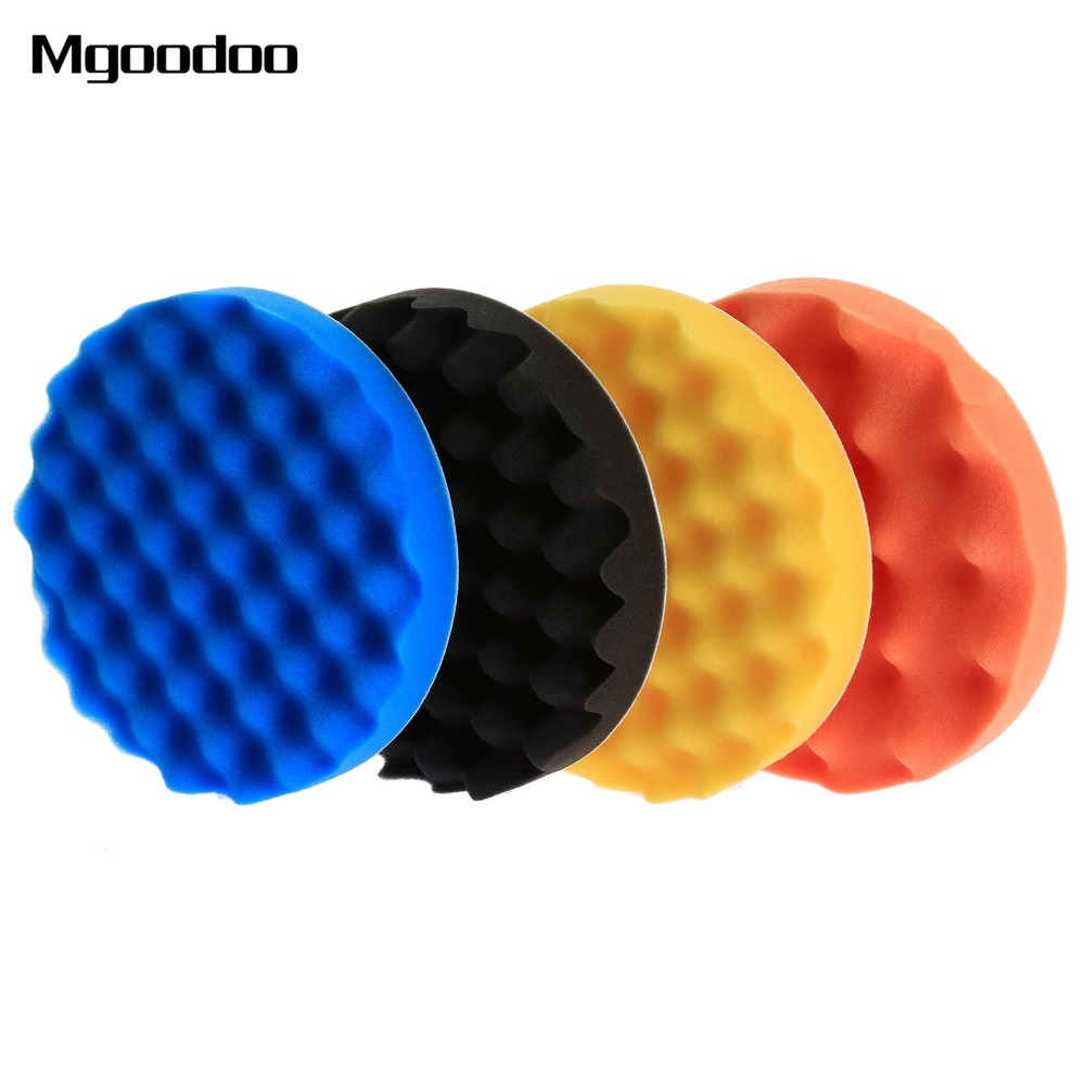 4Pcs 7inch(180mm) Sponge Car Polisher Waxing Pads Buffing Kit for Boat Car Polish Buffer Drill Wheel Polisher Removes Scratches