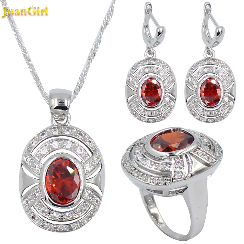 Fashion Red Stone Wedding Jewelry for Women 925 Silver Jewelry Sets Zircon Necklaces Pendant Earrings with Stone Ring Gift box image