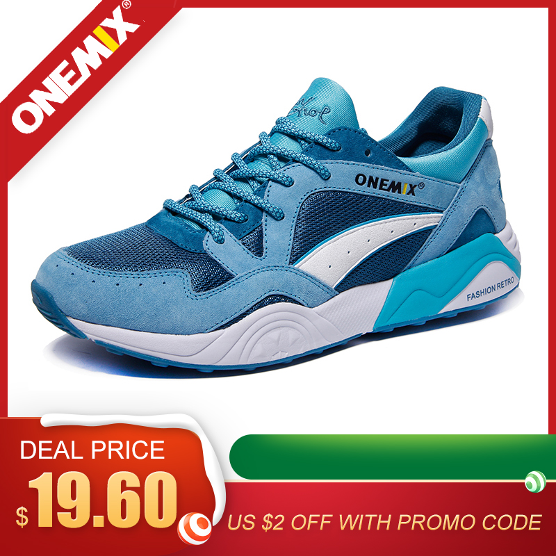ONEMIX Men Sneakers Light Weight Breathable Lace-up Adult Male Outdoor Athletic Casual Training Running Jogging Shoes  Size 39-4