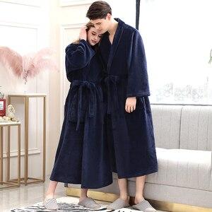 Image 1 - נשים חורף משובץ בתוספת גודל ארוך פלנל חלוק חם קימונו 40 130KG חלוק אמבטיה מפנק גלימות חלוק גברים לילה הלבשת