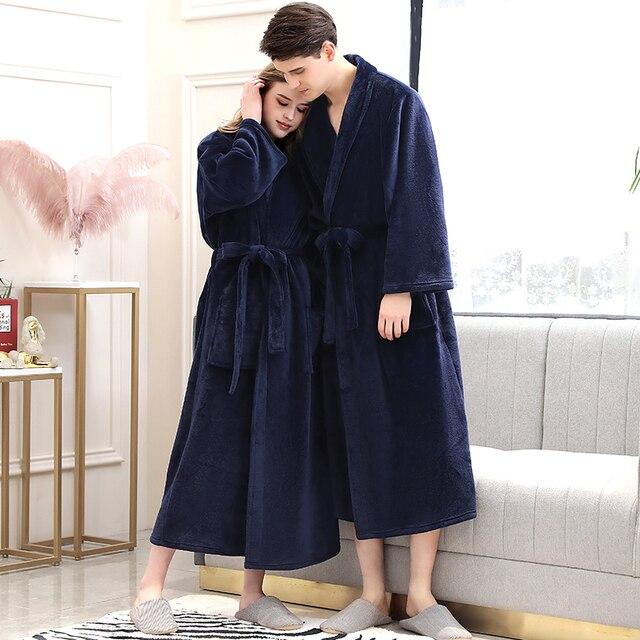 נשים חורף משובץ בתוספת גודל ארוך פלנל חלוק חם קימונו 40 130KG חלוק אמבטיה מפנק גלימות חלוק גברים לילה הלבשת
