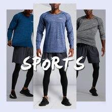 Camisa do ginásio dos homens de manga longa correndo camisa rashgard camisas de compressão ajuste seco camisa esportiva de fitness treinamento basquete