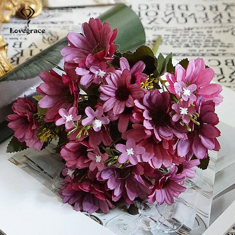 Autumn Fake Daisy Silk Flowers Bouquet Fall Gerbera Daisy Artificial Plastic Flowers Wedding Home Accessories Room Decor Flowers
