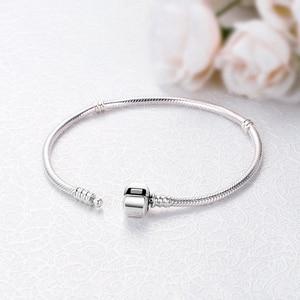 Image 3 - Bracelet à breloques cœur en argent Sterling 100% 925, Original, chaîne de perles, flocon de neige, roses, serpent, bijoux à bricoler soi même