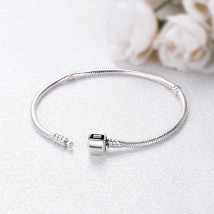 Image 3 - Original 100% 925 Sterling Silver Bracelet Bead Charm Heart Snowflake Rose Snake Chain Basic Bracelets Pan Women DIY Jewelry