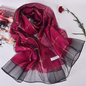 Image 4 - Elegant Women Cotton+Silk Scarves For Women Long Shawls Wraps Plaid Print Kerchief Hijab Scarf 190cm*70cm Neck Scarfs For Ladies