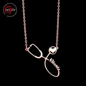 Goxijite Custom Stethoscope Name Necklace Stainless Steel Gold Chain Personalized Nameplate Necklaces Women Men Gift