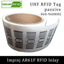 Метка Диапазона UHF RFID impinj MonzaR6 AR61F Сухой инкрустация 915 МГц 900 МГц 868 МГц 860-960 МГц EPCC1G2 6C смарт-карты пассивных rfid-тегов этикетки