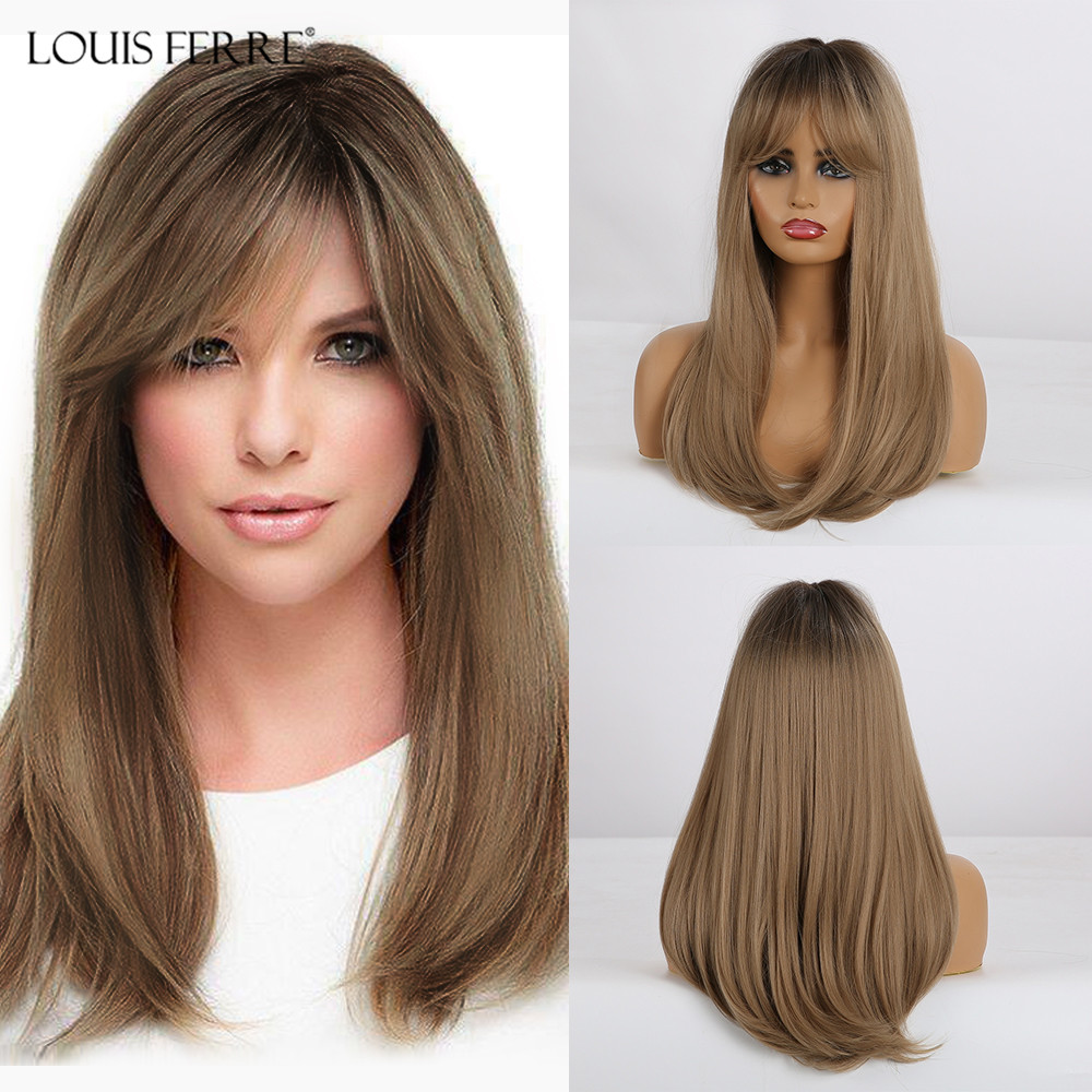 LOUIS FERRE Long Straight Synthetic Wigs With Bangs Ombre Black Brown Blonde Wigs For White/Black Women Heat Resistant Wigs