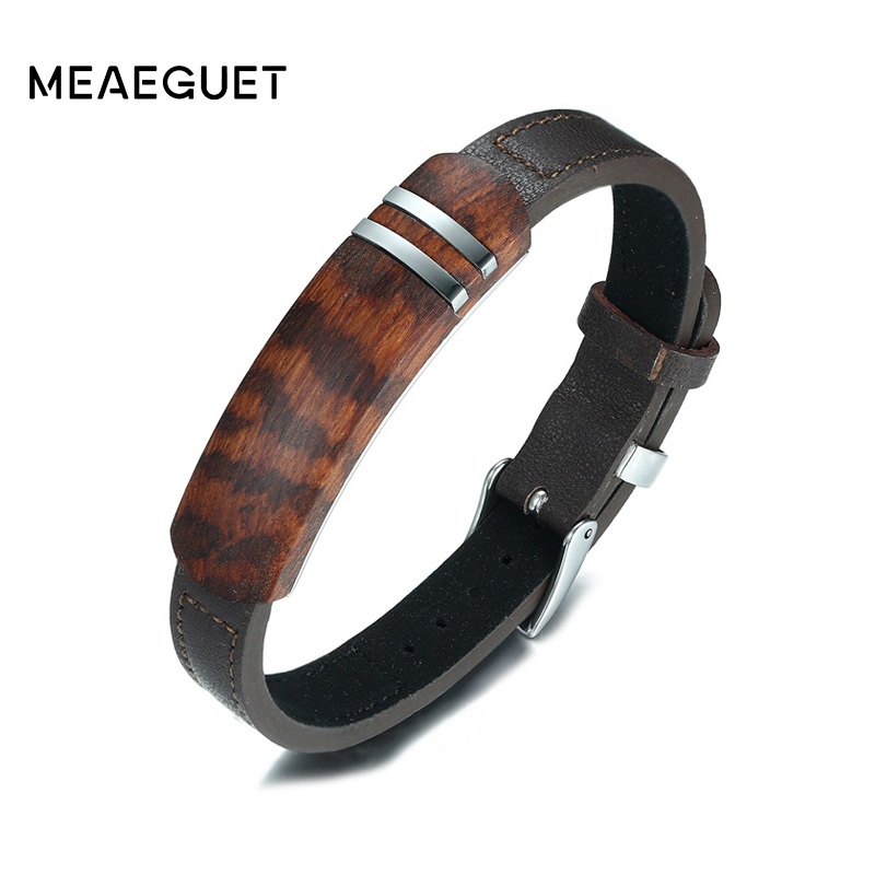 Meaeguet Brown Genuine Leather Charm Bracelets Men Top Quality Rosewood Plaque Bracelet Stainless Steel Jewelry 13mm Wide