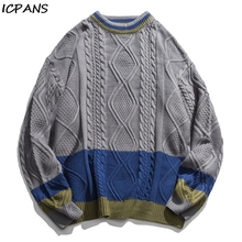 ICPANS Vintage Kintting Pullovers Women Men Couple Twist Thread Pacthwork Japanese Style Mens Sweaters Clothing Fashion Loose