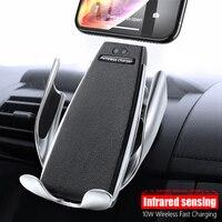 Carro qi sem fio carregador suporte para samsung s10 s9 iphone 11 pro xs max 8 plus 10 w montagem do carro sem fio adaptador de carregamento rápido