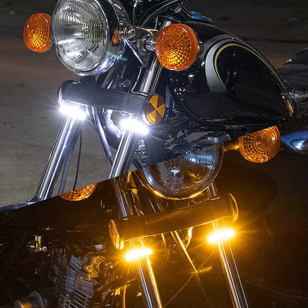 2 pièces Moto universelle Led clignotants DRL ambre blanc dynamique clignotants Moto indicateur bande 12V Moto lumière