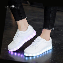 Eur Size 35-46 USB Charge Boys&Girls Luminous Sneakers Glowing with Light Soles LED Shoes Light up Shoes Children's Footwear стоимость