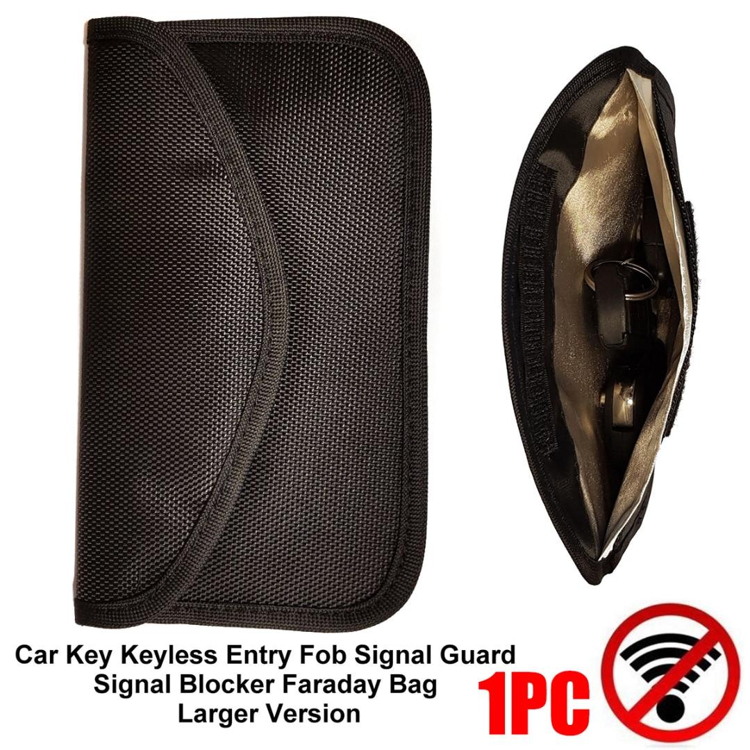 LARGE Version Car Key Keyless Entry Fob Signal Guard Blocker Black Faraday Bag