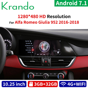 Автомагнитола Krando, Android 7,1, 10,25 дюйма, для Alfa Romeo Giulia 952 2016-2018, gps-навигация, мультимедийный плеер с bluetooth